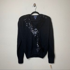 VTG Le Chois Black Sequjn Cardigan Sweater